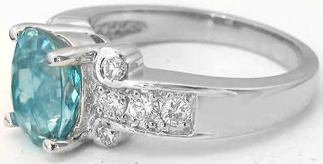 Natural Blue Zircon Ring