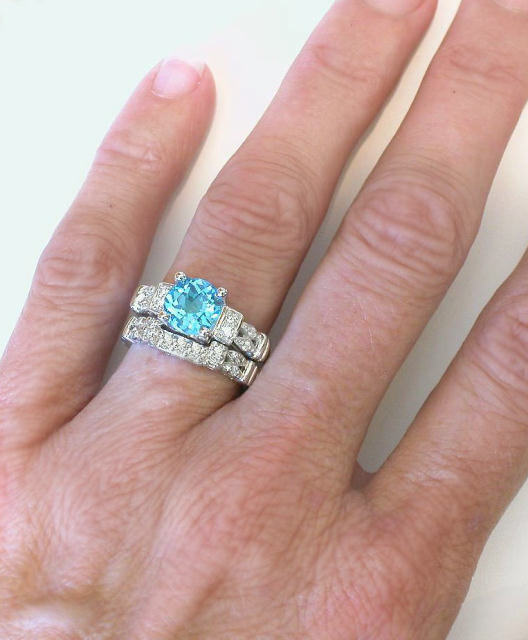 Round Blue Zircon Engagement Ring In 14k White Gold With 3