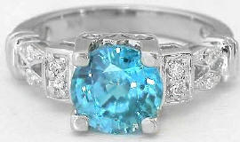 Blue Zircon and Diamond Engagement Ring in 14k white gold