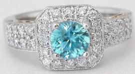 Blue Zircon Engagement Rings in 18k White Gold