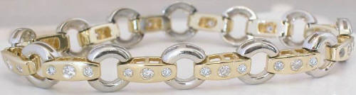 2.15 ctw Circle-Bar Link Diamond Bracelet in 14k white and yellow gold
