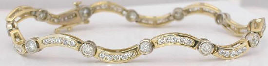 2.90 ctw Diamond Wave Bracelet in 14k white and yellow gold