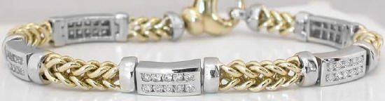 1.80 ctw Gold Link and Diamond Station Diamond Bracelet in 14k white and yellow gold