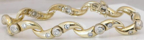 2.0 ctw Diamond Wave Bracelet in 14k white and yellow gold