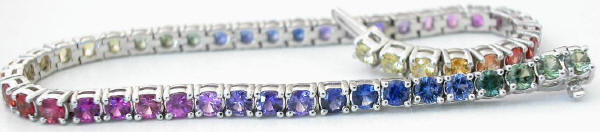 Prong Set Rainbow Sapphire Bracelets in 14k white gold