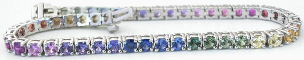 Rainbow Sapphire 3mm Bracelets in 14k white gold