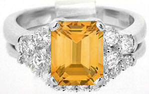 2.77 ctw Emerald Cut Citrine and Diamond Engagement Ring in 14k white gold