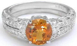 Citrine Diamond Engagement Ring with Wedding Band