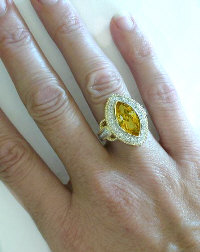 Unique Marquise Cut Citrine Statement Ring in 14k gold for sale