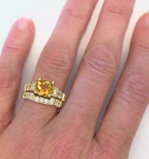 Citrine Engagement Ring In 14k Yellow Gold With 3 Matching Band OptionsGR 2025
