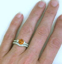 citrine wedding rings with antique style, matching band too