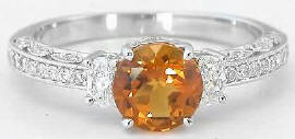 Citrine Diamond Engagement Ring with Vintage Styling