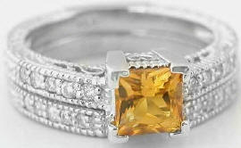 citrine engagement rings with matching band
