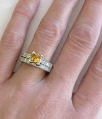 Antique Princess Cut Citrine Diamond Engagement Ring with Matching Band
