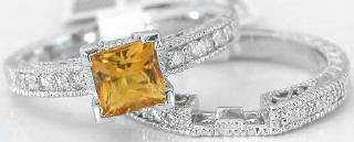 Vintage Citrine Diamond Engagement Ring with Matching Band