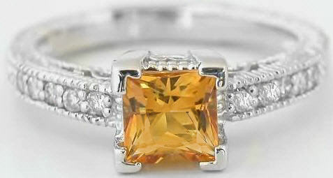 Antique Princess Cut Citrine Engagement Ring With Matching