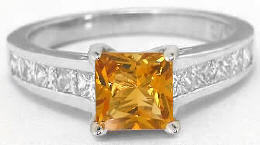 Princess Cut Citrine and White Sapphire Engagement Ring in 14k White Gold