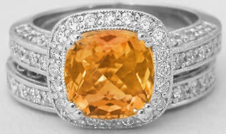 Cushion Cut Citrine and Diamond Halo Engagement Ring and Wedding