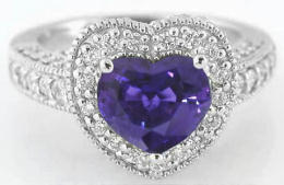Color Change Blue Purple Heart Sapphire Diamond Rings