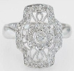 0.26 carat Antique Style Diamond Ring in 18k white gold
