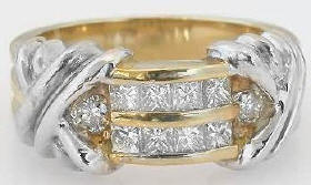 0.70 ctw Two Tone Diamond Ring in 14k white and yellow gold