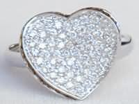0.62 ctw Black and White Diamond Heart Ring in 14k white gold