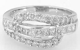 1.1 ctw Princess and Round Diamond Bypass Ring in 14k white gold