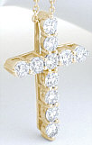 2 carat Diamond Cross in 14k Yellow Gold