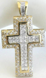 5.2 ctw Invisible Set Princess Cut and Round Diamond Cross in 14k