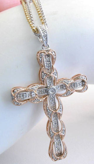 diamond cross necklace in 14k rose and white gold with. Black Bedroom Furniture Sets. Home Design Ideas