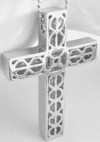 Back View of Invisible Set Princess Cut Diamond Cross in 14k