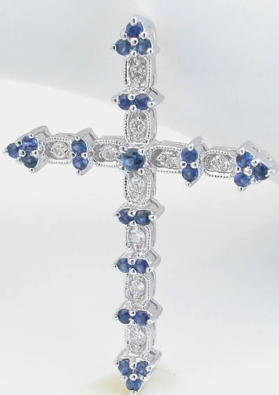 Antique Style Blue Sapphire And Diamond Cross Necklace