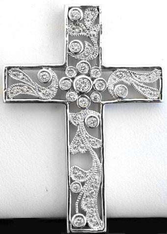Floral Design Diamond Cross Pendants Dp 1143