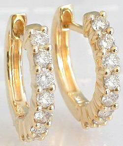 0.37 ctw Diamond Hoop Earrings in 14k Yellow Gold