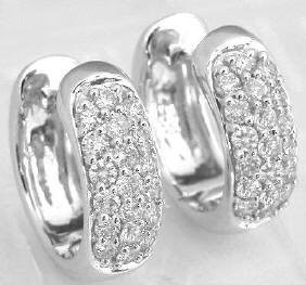Pave Diamond Earrings in White Gold
