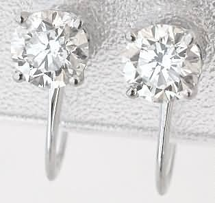 1.0 ctw Diamond Stud Earrings for Non-Pierced Ears (DE-1073)