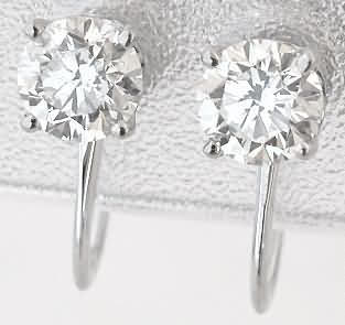 1.0 ctw Diamond Stud Earrings for Non-Pierced Ears in 14k white gold