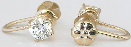 1.0 ctw Diamond Stud Earrings for Non-Pierced Ears in 14k ...