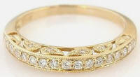 Antique Style Diamond Wedding Band in 14k gold