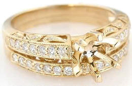 Vintage Style 0.49 ctw Diamond Semi Mount and Matching Wedding Band in 14k gold