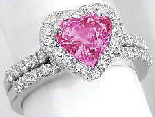 Bright Pink Sapphire and Diamond Engagement Ring and Wedding Band in 14k white gold