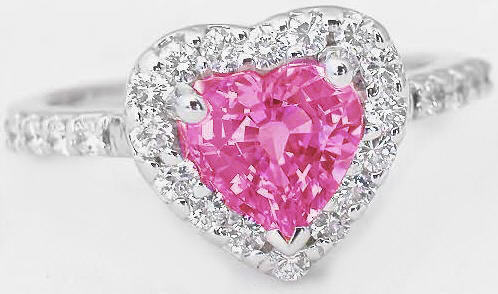 Heart Shape Pink Sapphire And Diamond Halo Engagement Ring
