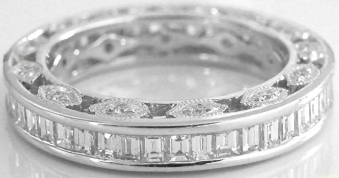 Baguette Diamond Eternity Band Ring with Vintage Details in choice ...