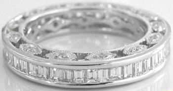 Baguette and Round Diamond Eternity Band with Vintage Detail