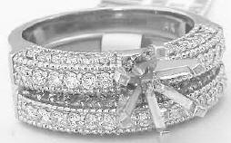 1 carat Bead Set Round Diamond Engagement Mounting and Matching Band in 14k white gold