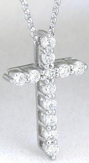 Classic 1/2 carat Shared Prong Diamond Cross Pendant in 14k white gold