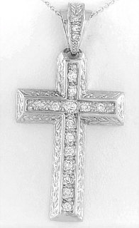 Diamond Cross Pendant in 14k white gold with Carving