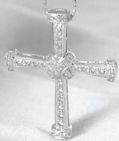 Diamond Cross Pendants in 18k white gold