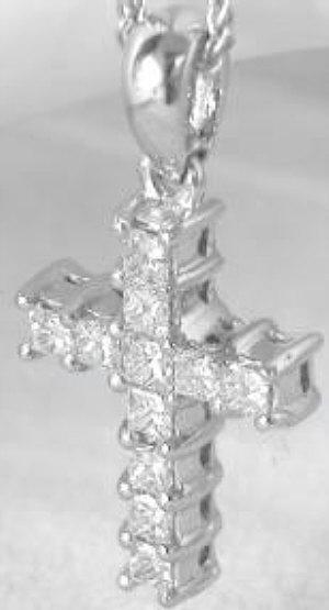 1 0 Ctw Princess Cut Diamond Cross In Platinum From