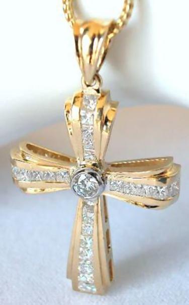 Princess Cut Diamond Cross Pendant With Round Diamond